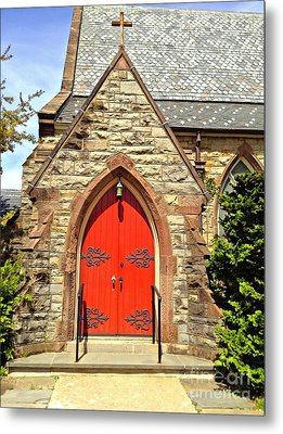 Metal Print featuring the photograph Red Arch Church Door 1 by Becky Lupe