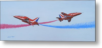Red Arrows At Crowd Centre Metal Print by Elaine Jones