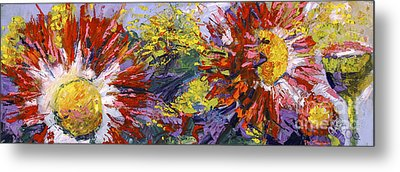 Red Asters Modern Impressionist Flower Painting Metal Print by Ginette Callaway