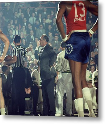 Red Auerbach Talks With Ref Metal Print