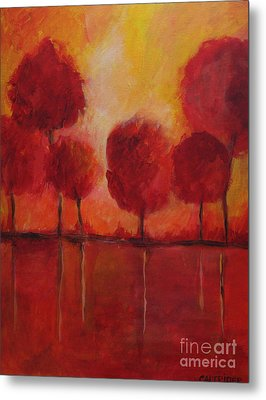 Red Autumn Metal Print by Alison Caltrider