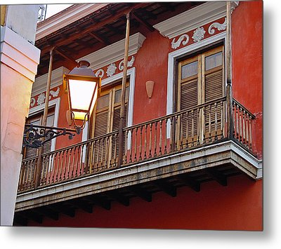 Red Balcony Metal Print