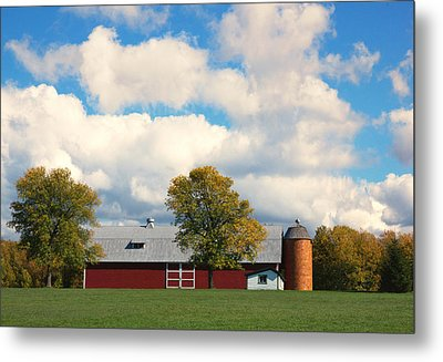 Red Barn And Clouds Metal Print