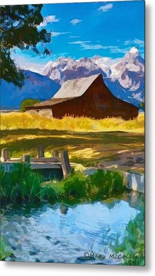 Red Barn And Mountains  Metal Print by Mary M Collins