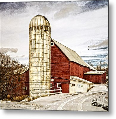 Red Barn And Silo Vermont Metal Print by Edward Fielding