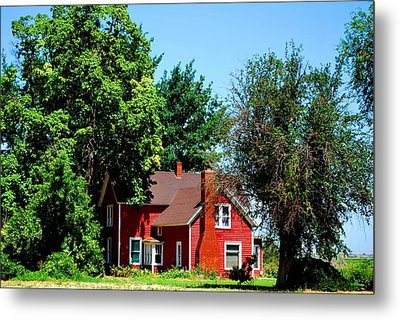 Red Barn And Trees Metal Print by Matt Harang
