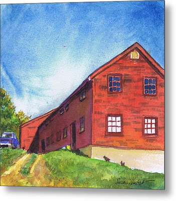 Metal Print featuring the painting Red Barn Apple Farm New Hampshire by Susan Herbst