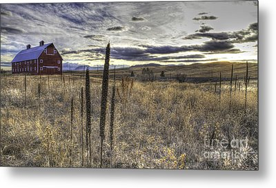 Metal Print featuring the photograph Red Barn At Sunset by Kristal Kraft