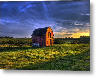 Red Barn Autumn Sunset Metal Print