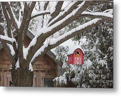 Red Barn Birdhouse On Tree In Winter Metal Print by Elena Elisseeva