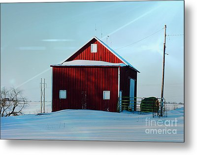 Red Barn During Illinois Winter Metal Print by Luther Fine Art