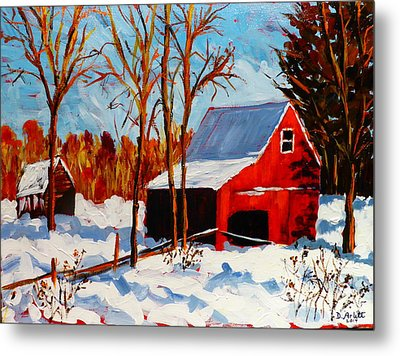 Red Barn First Snow Metal Print by Diane Arlitt