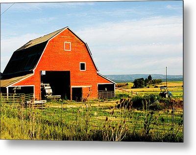 Red Barn In Field Near Joseph, Wallowa Metal Print by Nik Wheeler