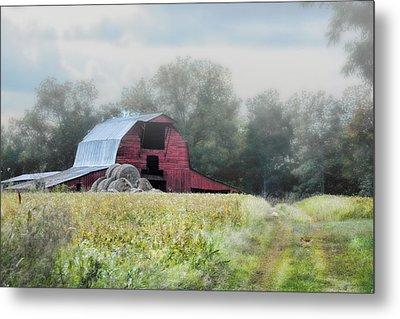 Red Barn In The Fog Metal Print by Jai Johnson