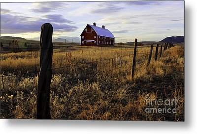 Metal Print featuring the photograph Red Barn In The Golden Field by Kristal Kraft