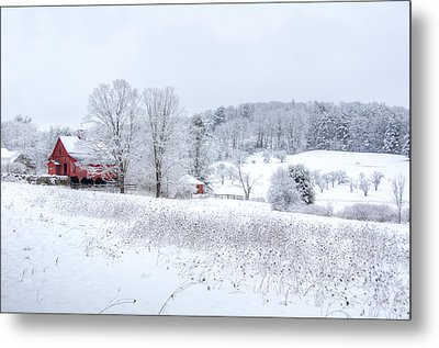 Red Barn In Winter Wonderland Metal Print by Donna Doherty