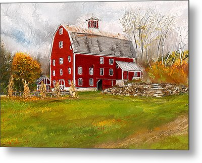 Red Barn In Woodstock Vermont- Red Barn Art Metal Print by Lourry Legarde