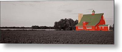 Red Barn, Kankakee, Illinois, Usa Metal Print