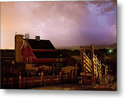 Red Barn On The Farm And Lightning Thunderstorm Metal Print by James BO  Insogna