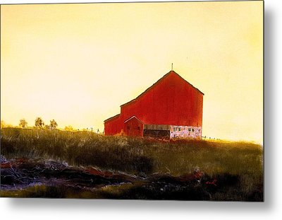 Metal Print featuring the painting Red Barn On The Rocks by William Renzulli