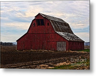 Red Barn Photoart Metal Print by Debbie Portwood