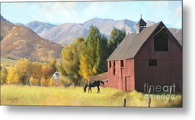 Metal Print featuring the painting Red Barn by Rob Corsetti