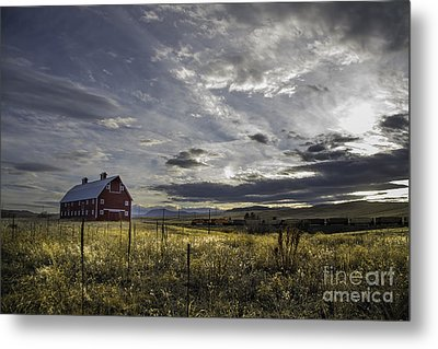 Metal Print featuring the photograph Red Barn Southbound Train by Kristal Kraft