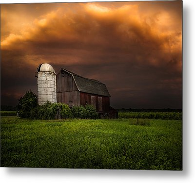 Red Barn Stormy Sky - Rustic Dreams Metal Print by Gary Heller