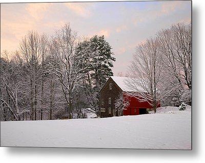 Metal Print featuring the photograph Red Barn Sunrise by Larry Landolfi
