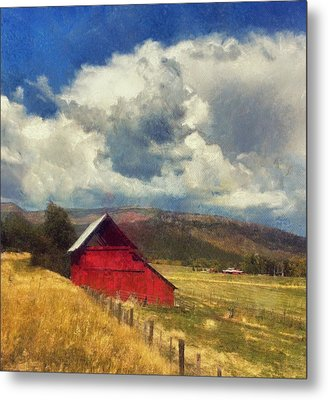 Red Barn Under Cloudy Blue Sky In Colorado Metal Print