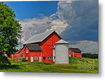 Red Barn White Silo Metal Print