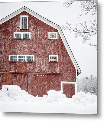 Red Barn Whiteout Metal Print by Edward Fielding