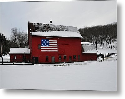 Red Barn With Flag In The Snow Metal Print by Bill Cannon
