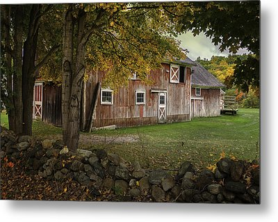 Red Barns And Stone Fences-new England Traditions Metal Print