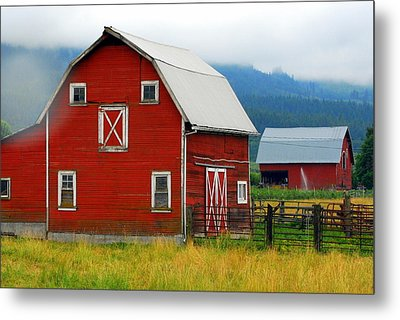 Red Barns Metal Print by Mamie Gunning