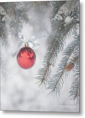 Red Bauble Metal Print by Juli Scalzi