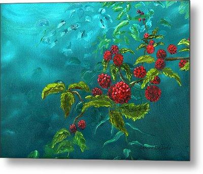 Red Berries In Blue Green Painting Metal Print