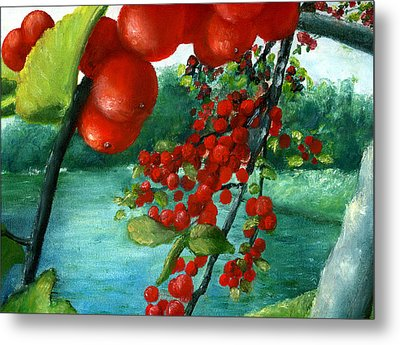 Metal Print featuring the painting Red Berry Tree On Louisiana Pond by Lenora  De Lude