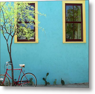 Red Bicycle Metal Print by Brenda Pressnall