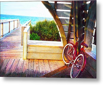 Red Bike On Beach Boardwalk Metal Print by Jane Schnetlage