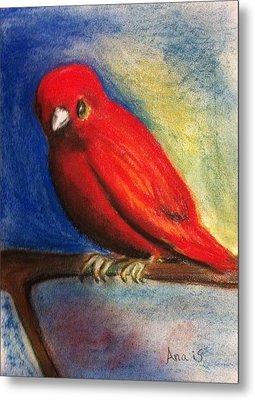 Red Bird Metal Print by Anais DelaVega