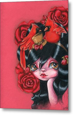 Red Birds And Roses Metal Print