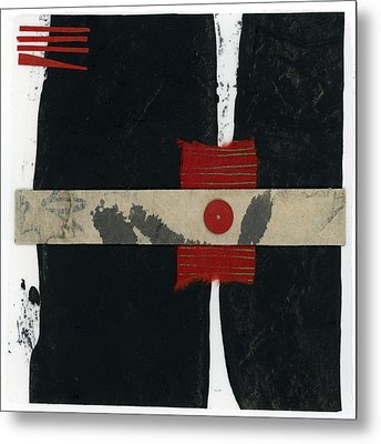 Red Black And White Collage 1 Metal Print by Carol Leigh