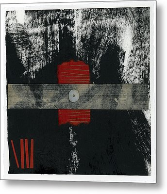 Red Black And White Collage 2 Metal Print by Carol Leigh
