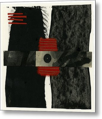 Red Black And White Collage 3 Metal Print by Carol Leigh