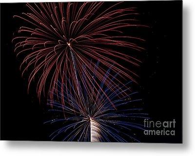 Red Blue Fireworks Metal Print by Jason Meyer