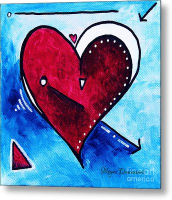 Red Blue Heart Love Painting Pop Art Joy By Megan Duncanson Metal Print