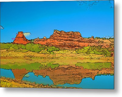 Red Bluff Reflection Metal Print