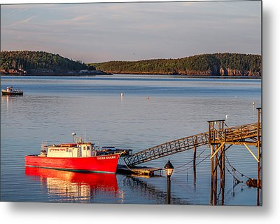 Metal Print featuring the photograph Red Boat Bar Harbor Me by Trace Kittrell