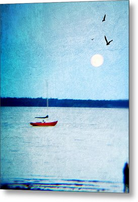 Red Boat Big Moon Metal Print
